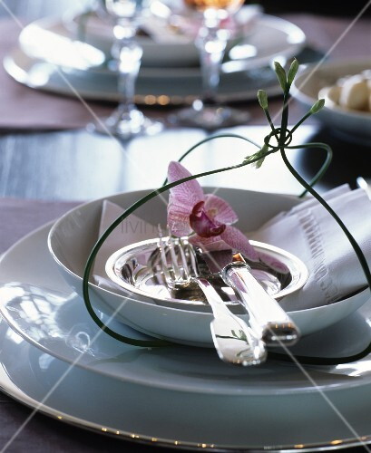 Elegant place setting with white crockery, silver cutlery and orchid flower