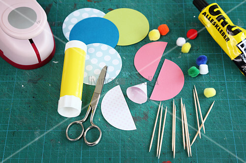 Making colourful party hats for decorating toothpicks