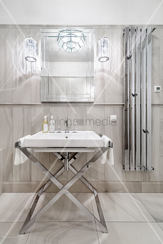 Luxurious bathroom with marble tiles