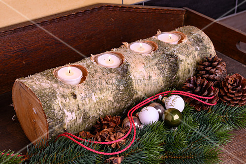 Candle holder made from birch log