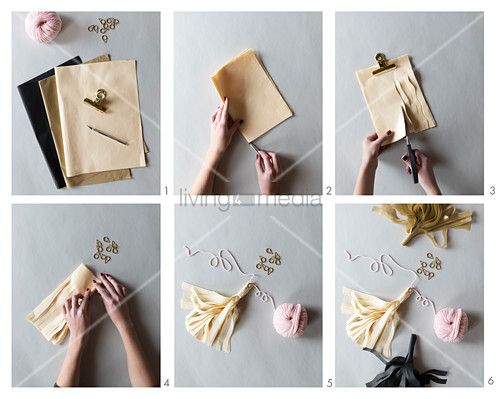 Instructions for making paper tassels