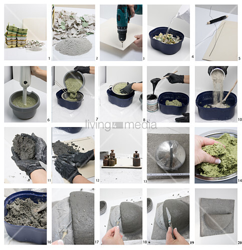 Instructions for making papercrete bowl