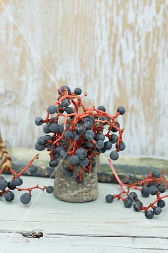 Kleine Steingut Vase mit den Beeren des wilden Wein