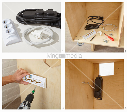 Instructions for building a workshop trolley (attaching plug sockets)