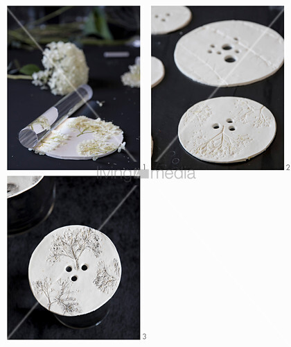 Instructions for making perforated vase lids with embossed flower motif from modelling clay