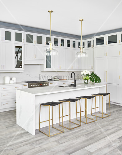 White kitchen with island counter, bar … – Buy image ...