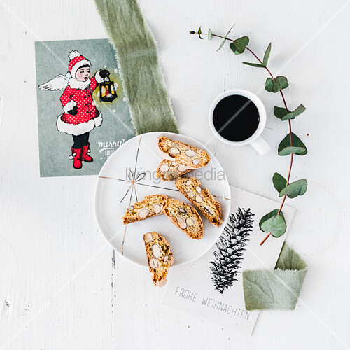 Cantuccini biscuits and coffee at Christmas