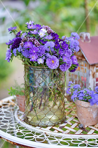 Bouquet of asters, floss flowers and verbena in glass vase on garden table
