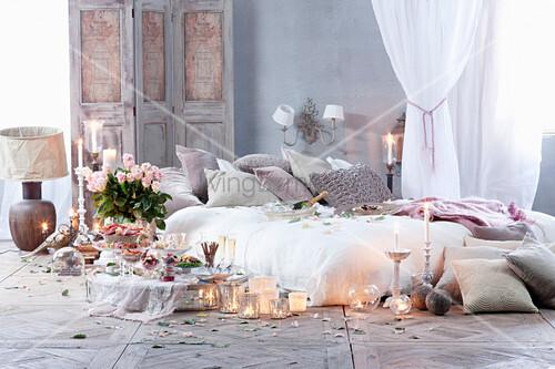 Romantic meal in bedroom