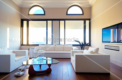 White sofa set and coffee table in living room