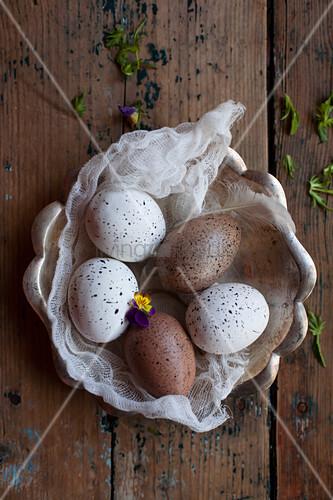 Gesprenkelte Eier auf einem Stück Mull in einer rustikalen Schale