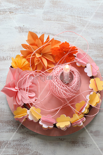 Wreath of pink, orange and yellow paper flowers