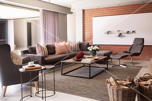 Grey Sofa Set In Living Room With Brick Buy Image 12889189