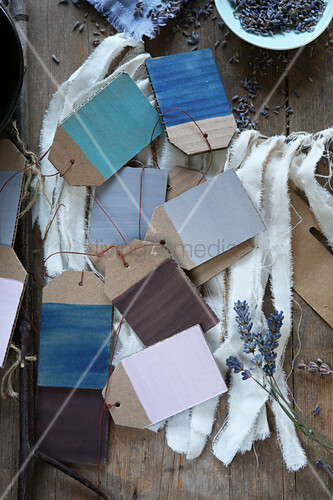Handcrafted card gift tags in various shades of blue