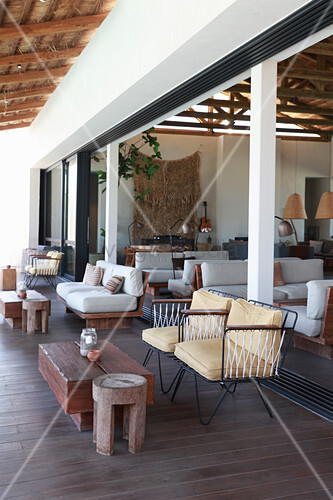 Indoor and outdoor lounge areas