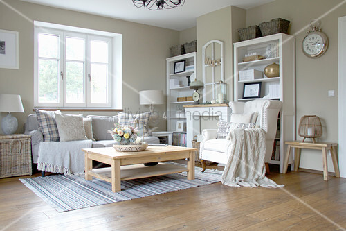 Autumnal living room in country-house style
