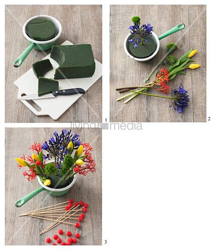 Instructions for making arrangement of tulips, jatropha and agapanthus