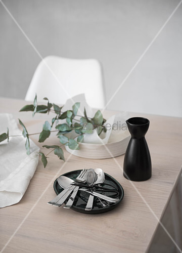 Cutlery, carafe and eucalyptus branch on table