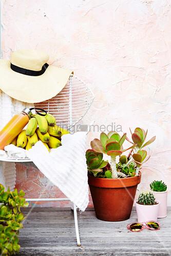 Gartenstuhl mit Bananen und Strohhut, Kakteen und Sonnenbrille