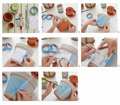 Instructions for painting plant pots
