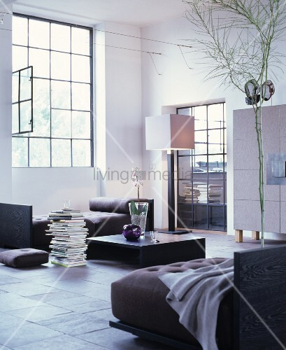 Cubist furniture in modern living room of industrial loft apartment