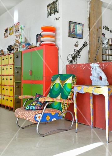 Brightly painted, upholstered and covered furniture