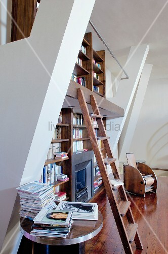 Two-storey bookcase with wooden ladder