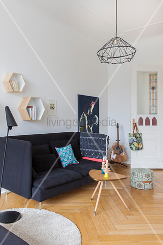 Sofa and coffee table in period apartment