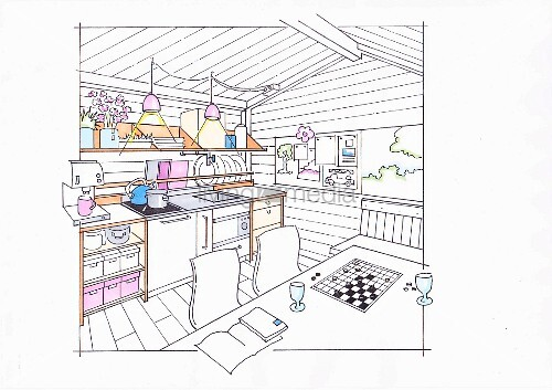Illustration: A small kitchen for self-catering holidaymakers in a garden house