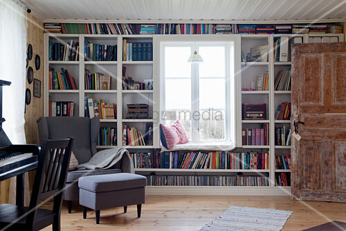 Bookcase surrounding window with window seat in living room