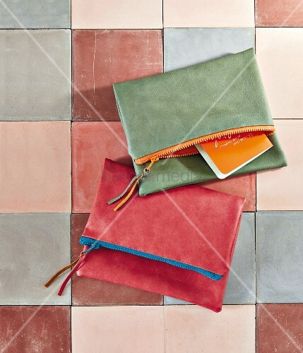 DIY clutches made of colourful faux leather