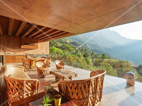 Modern loggia of architect-designed house with panoramic view