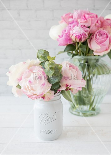 Pink peonies in two vases