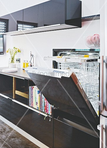 A built-in dishwasher in a kitchen