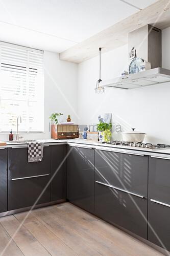 Vintage accessories in modern kitchen flooded with sunlight