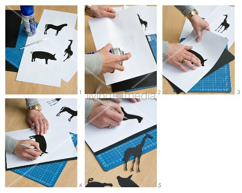 Instructions for making animal sihouettes made from black cardboard