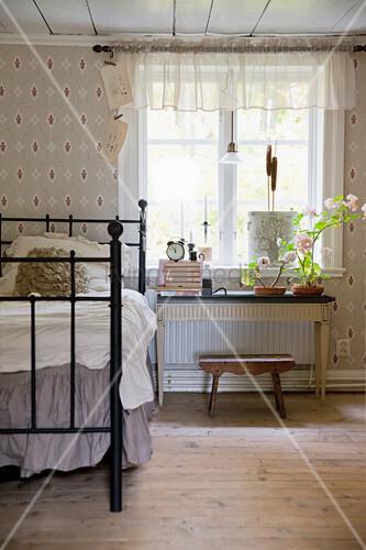 Metal Bed Next To Window In Bedroom With Buy Image
