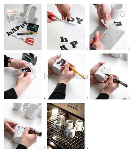 Tassen mit Buchstaben verzieren