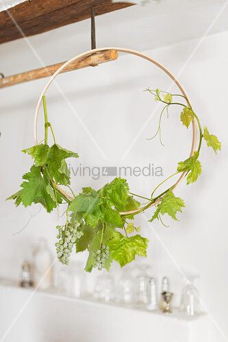 Green grapes on vine tendril wound around embroidery frame