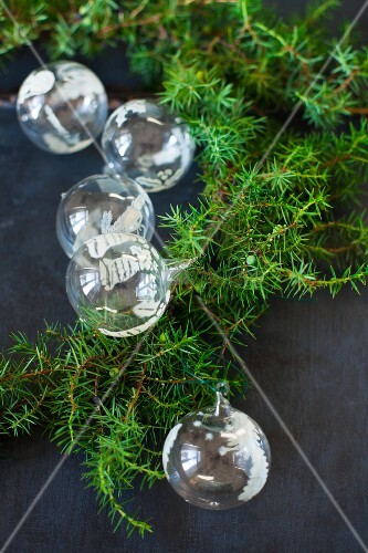 Glass Christmas-tree baubles and green conifer branches