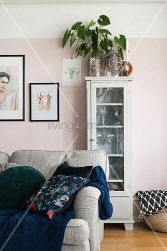 Zimmerpflanze auf einer Vitrine an rosafarbener Wand im Wohnzimmer
