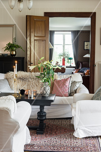 White sofa set in Bohemian-style living room