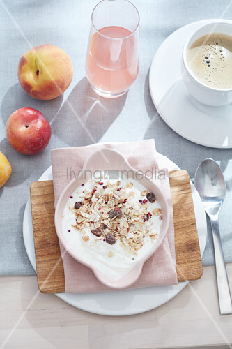 Muesli and fruit for breakfast