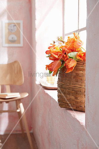 Basket of orange parrot tulips on windowsill