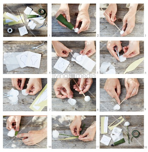 Instructions for making paper tulips