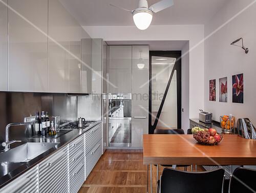 Breakfast table in designer kitchen