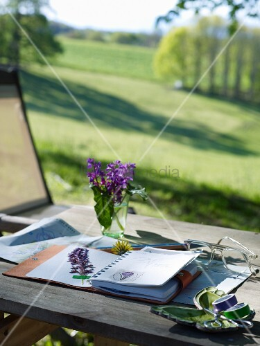 Flowers pressed in notebook on table with view across landscape