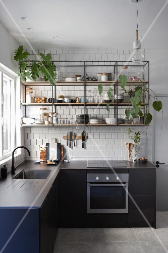 Houseplants on open, metal and wood shelves in kitchen