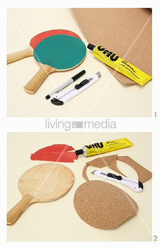 Making coasters from table tennis bats