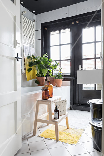 Houseplant on stepladder next to bathtub in renovated bathroom with balcony door